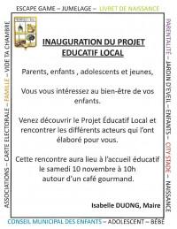 Inauguration du Projet Educatif Local